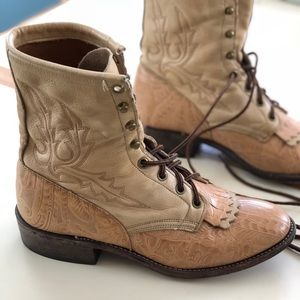 Larry Mahan Nattool Lacer Kiltie Tan Leather Boots